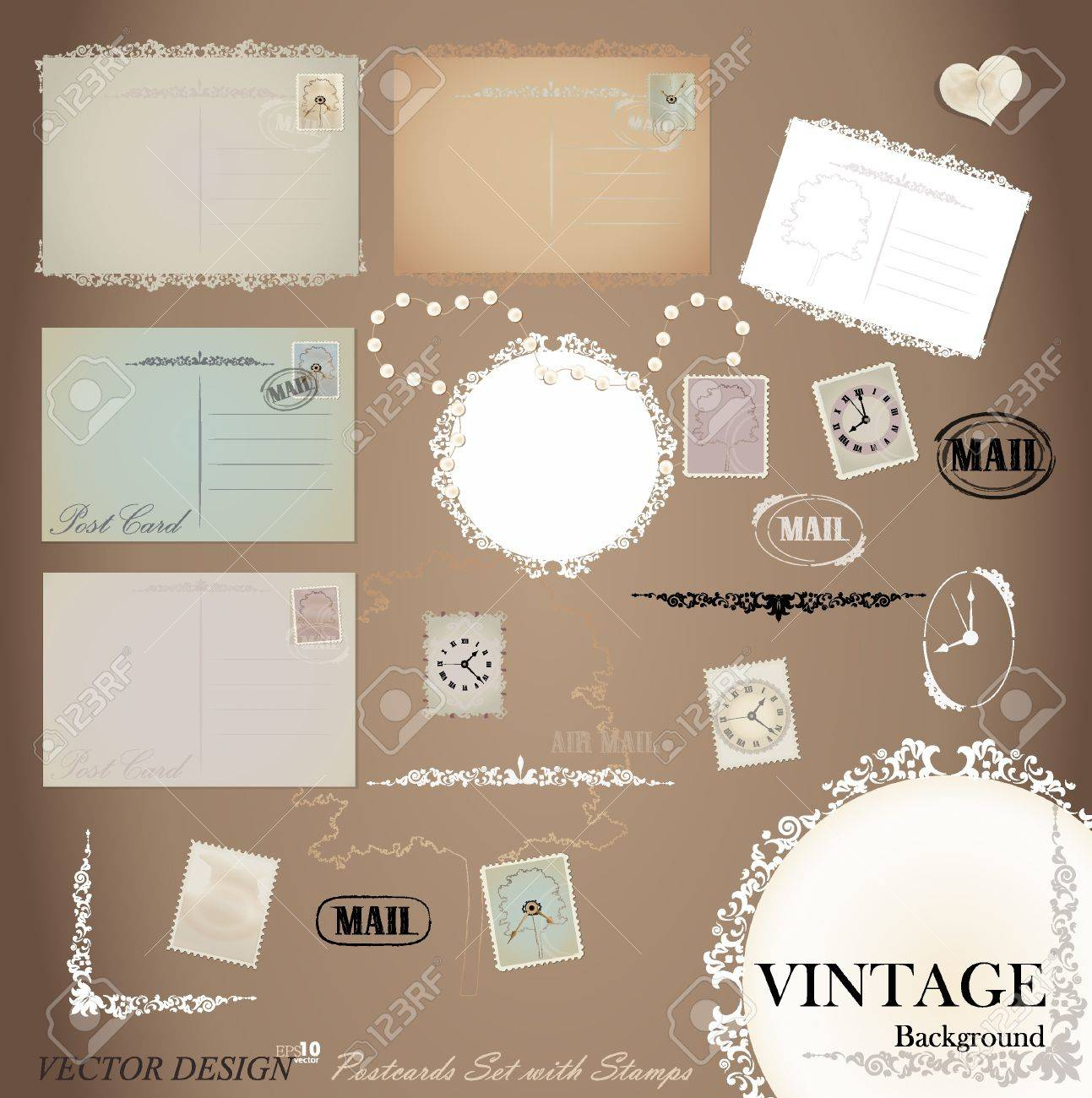 Vector set: Vintage postcard designs and postage stamps. Stock Vector - 14238355
