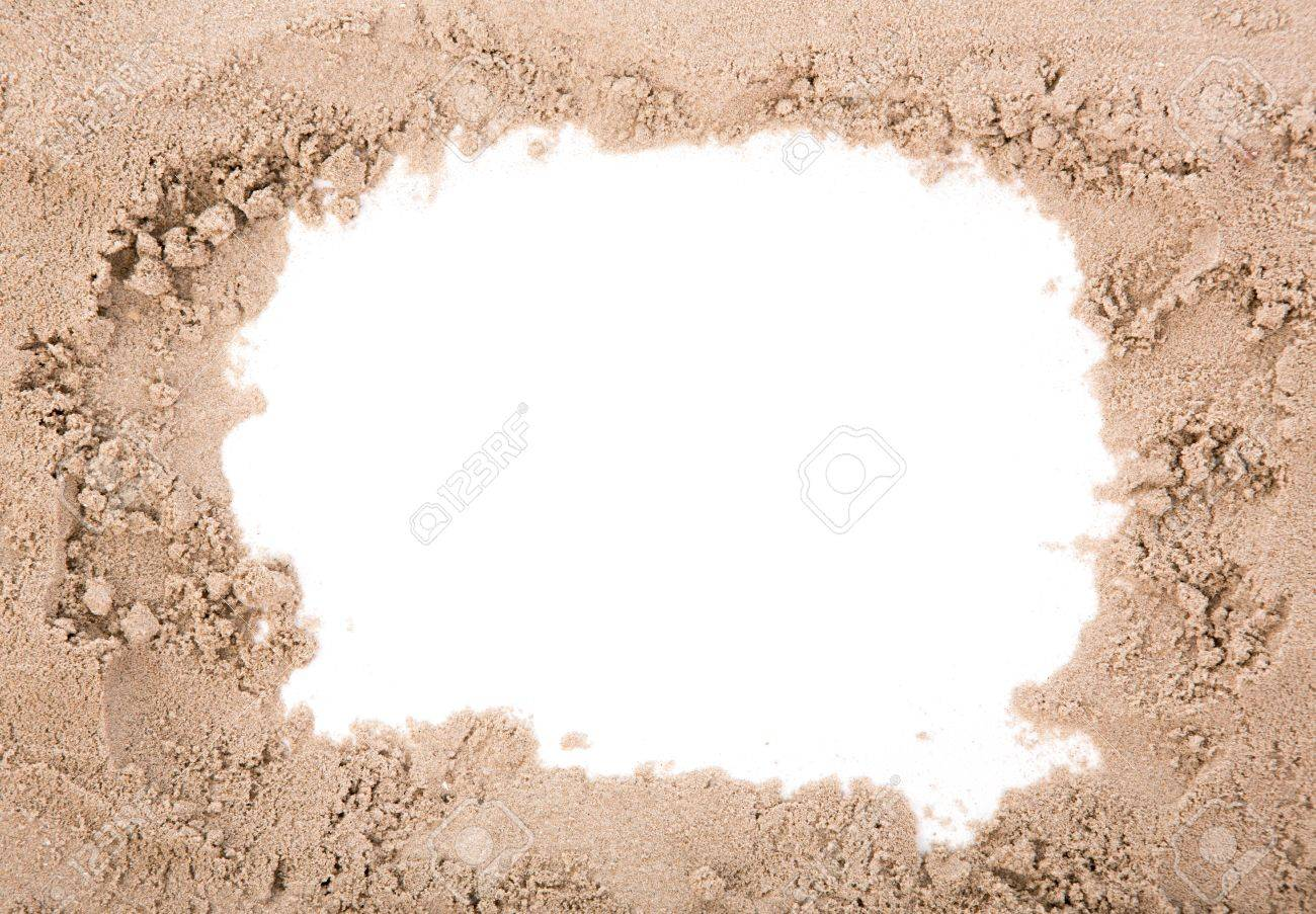 sand frame with copy space stock photo 14650685
