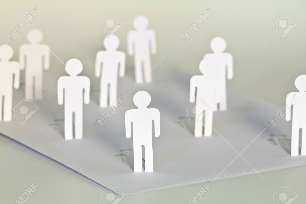 Social Network concept : close up of people cut out of paper on white background Stock Photo - 14943951