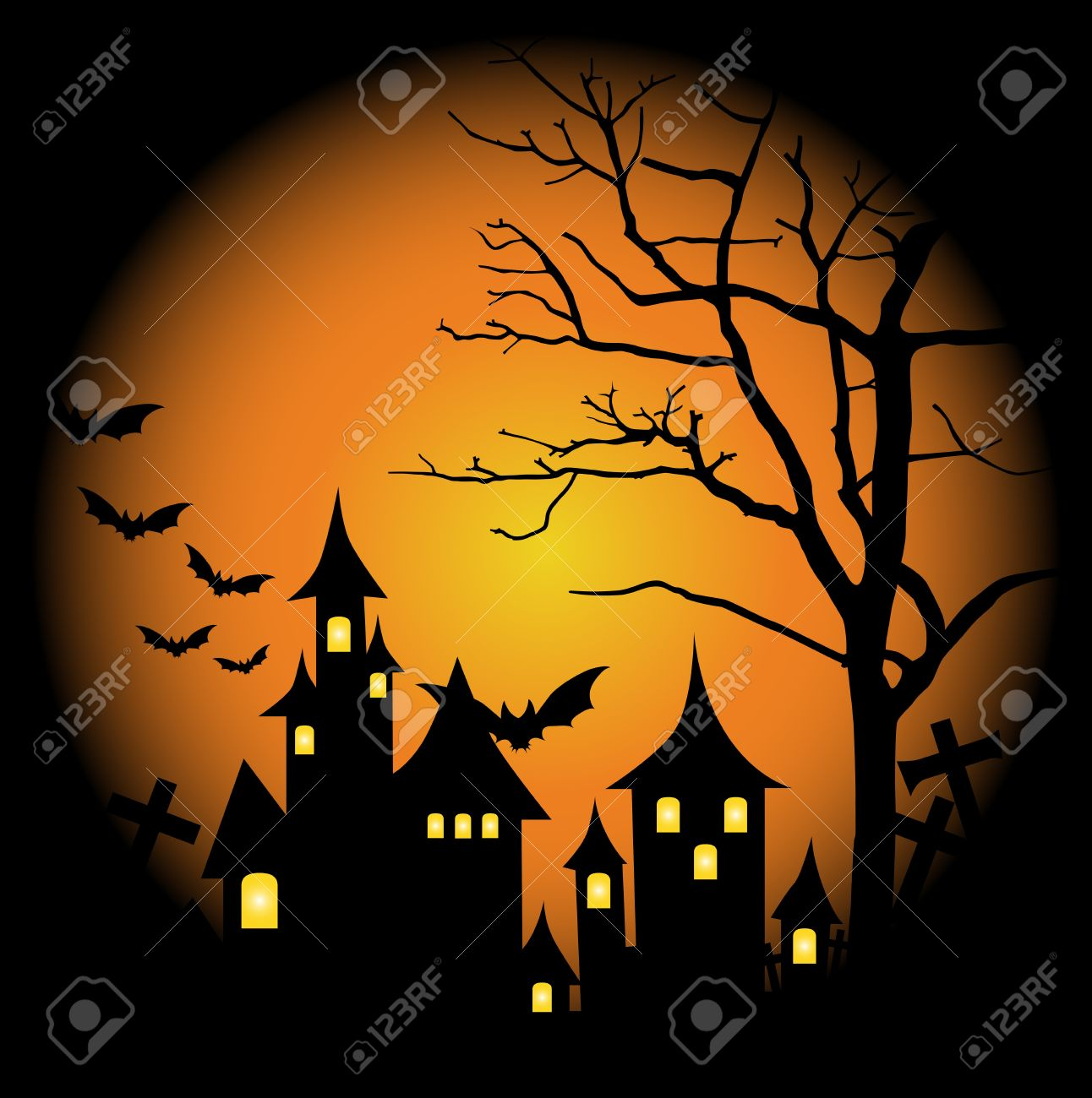 halloween themed design halloween background with haunted house bats and full moon - Halloween Themed Pictures
