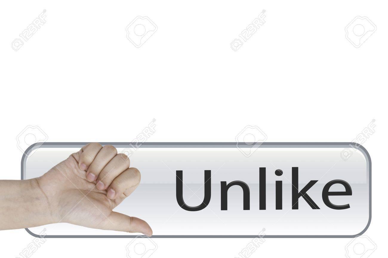 Unlike hand on Unlike button Stock Photo - 15967208