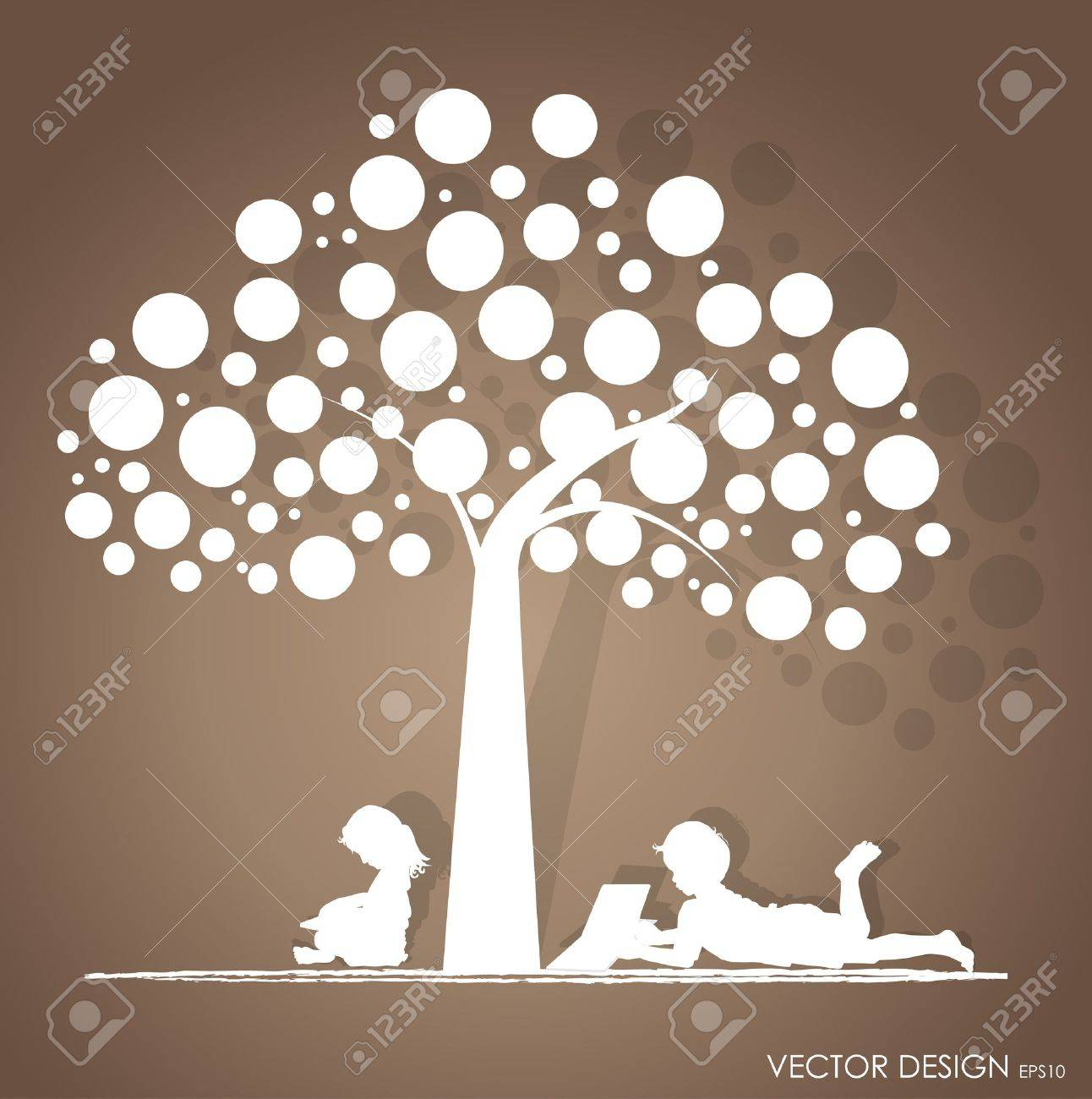background with children read a book under tree  Illustration Stock Vector - 16210019