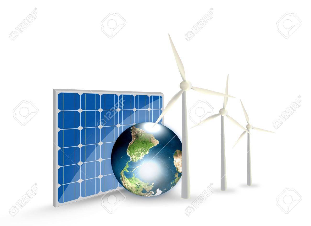 Alternative energy solar cell earth wind turbine stock photo alternative energy solar cell earth wind turbine stock photo 16296127 ccuart Choice Image
