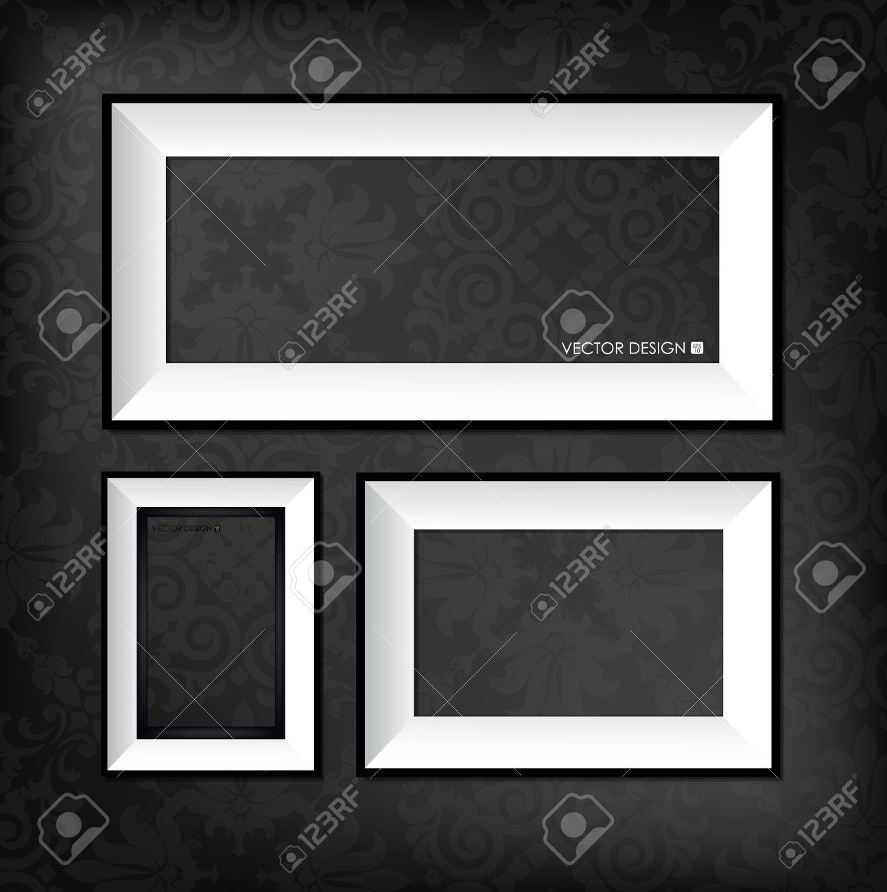 The modern frames on the dark wallpaper Stock Vector - 16297021