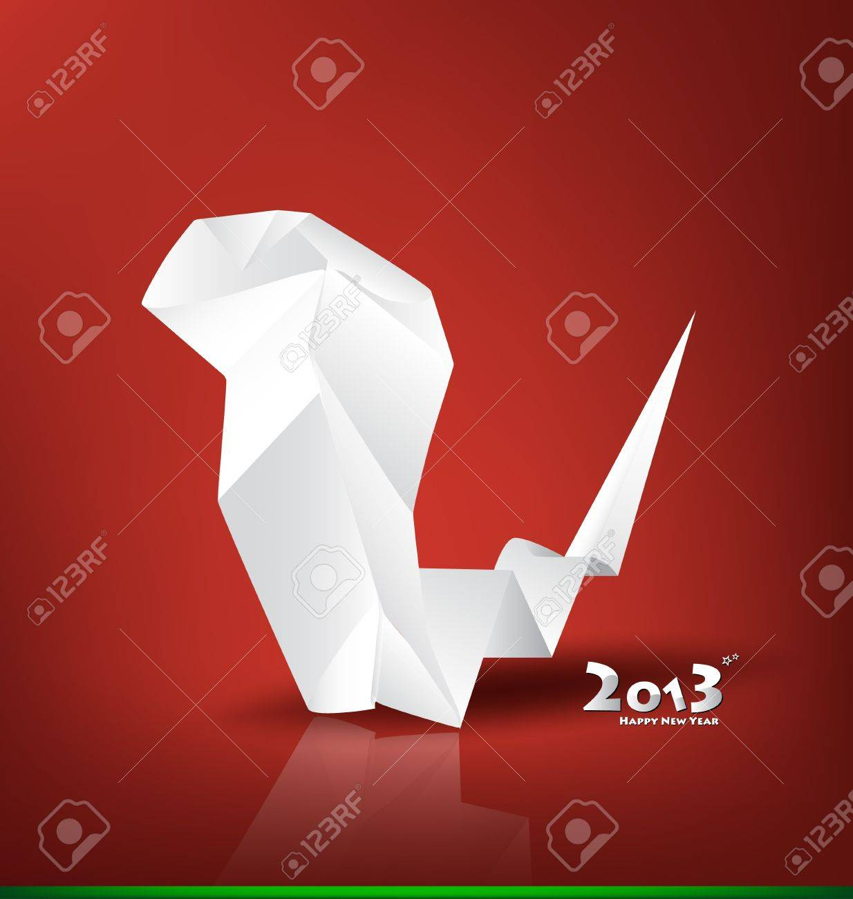2013 New Year greeting card with origami snake, vector illustration. (Year of snake) Stock Vector - 16767962