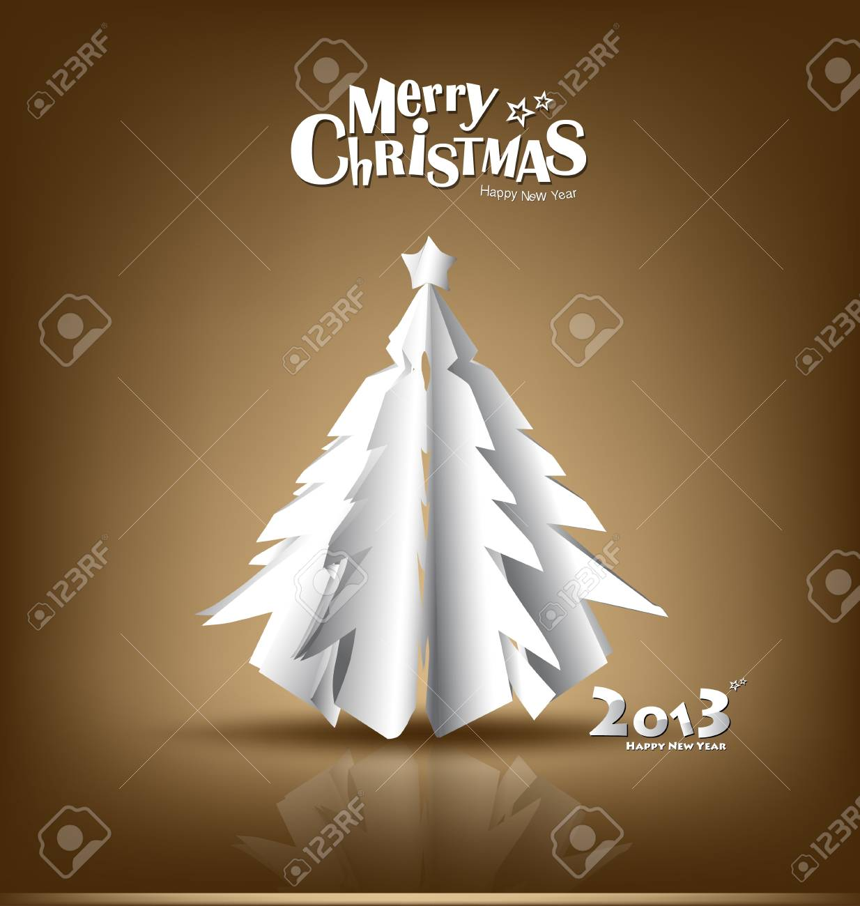 Merry Christmas greeting card with origami Christmas tree, vector illustration. Stock Vector - 16767949