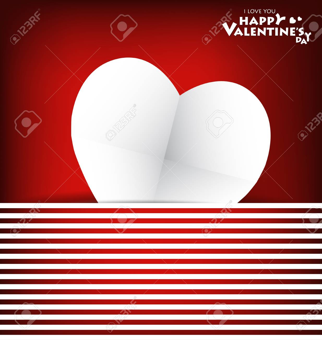 Valentine's day card with Heart Paper. Vector illustration Stock Vector - 16770678