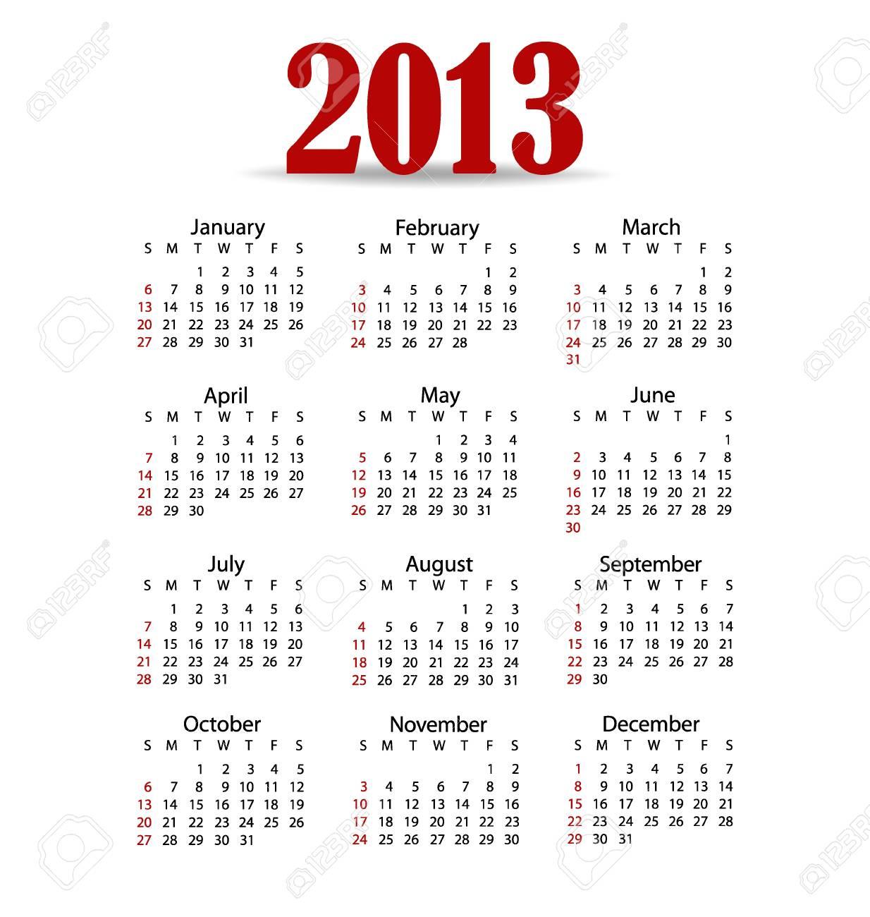 Simple 2013 year calendar, vector illustration. Stock Vector - 16991649