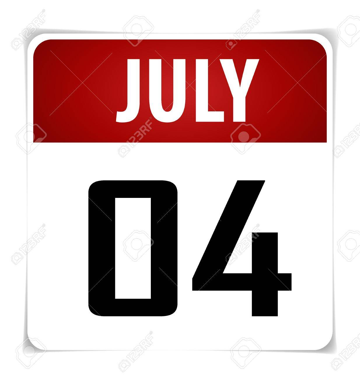 Simple Calendar Date- July 4th Stock Vector - 17101732