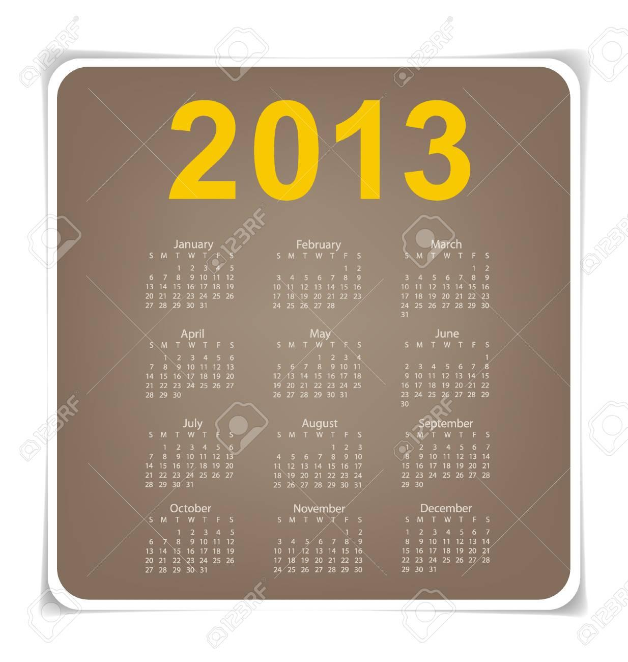 Simple 2013 year calendar Stock Vector - 17101743