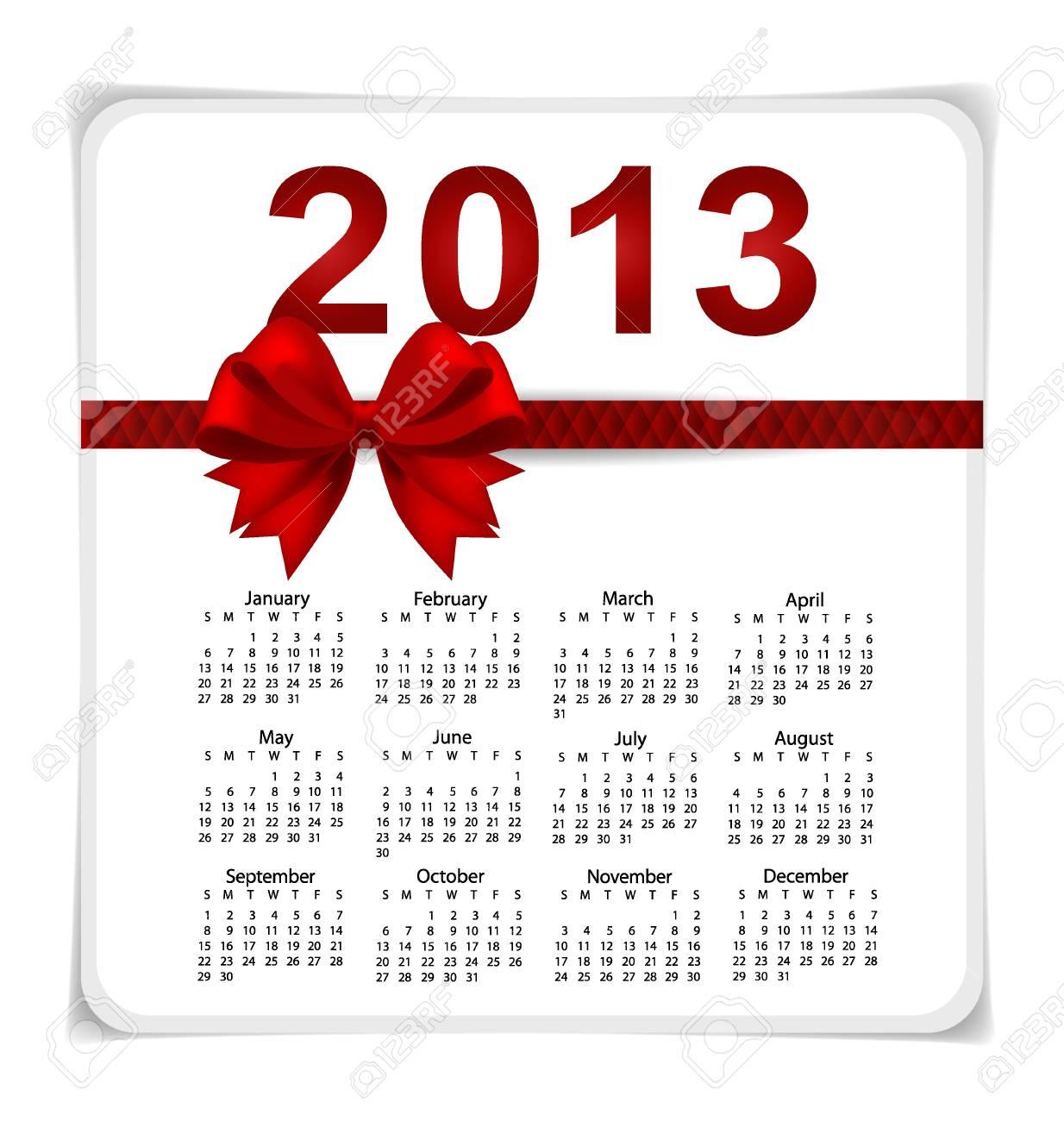 Simple 2013 year calendar, vector illustration. Stock Vector - 17101768