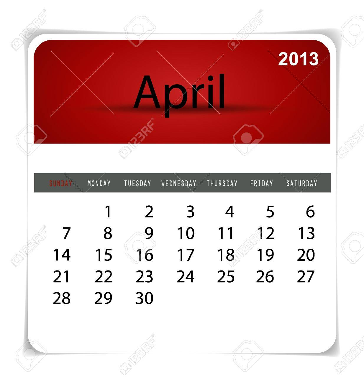 Simple 2013 calendar, April. All elements are layered separately in vector file. Easy editable. Stock Vector - 17350332