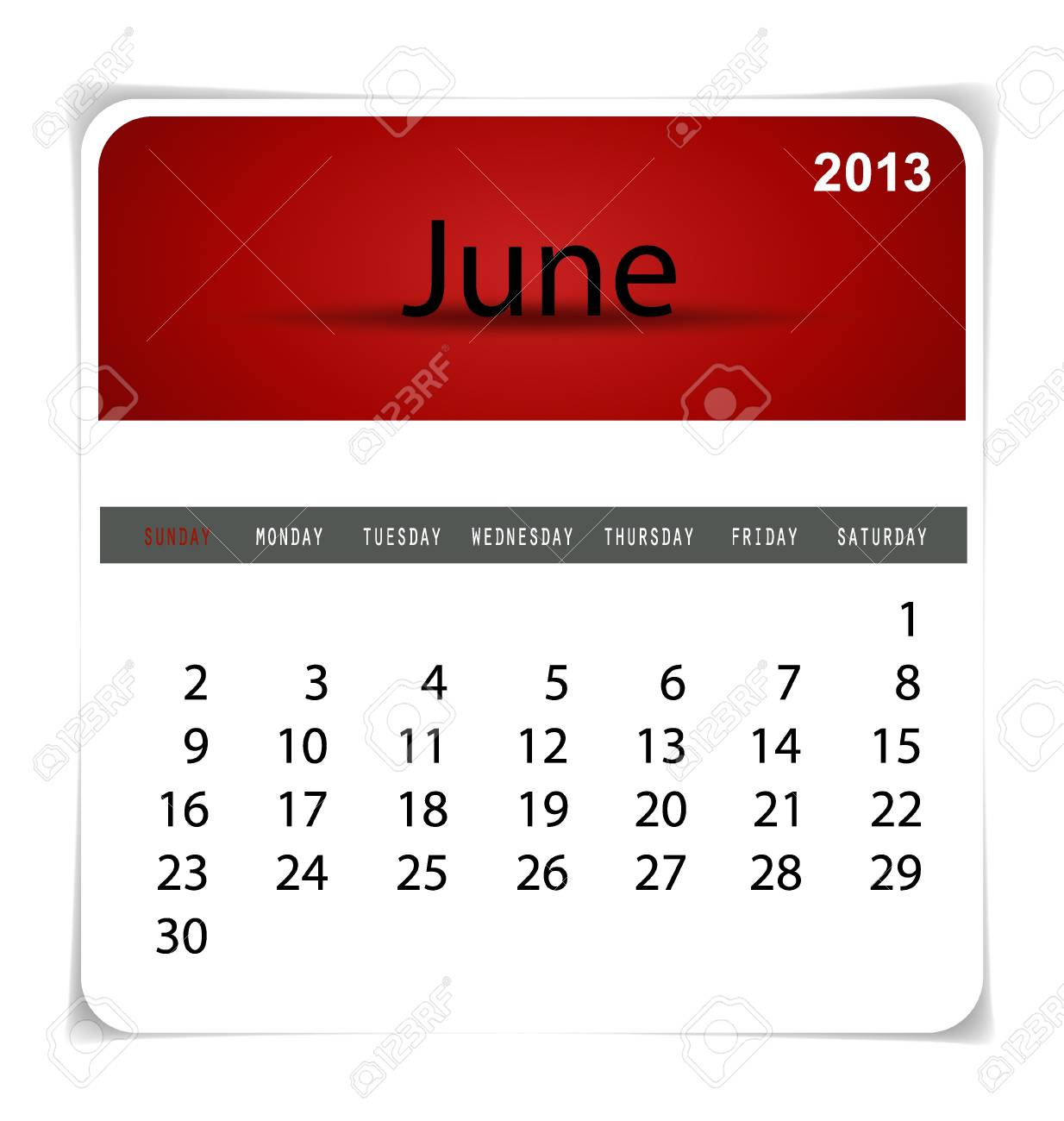 Simple 2013 calendar, June. All elements are layered separately in vector file. Easy editable. Stock Vector - 17350331