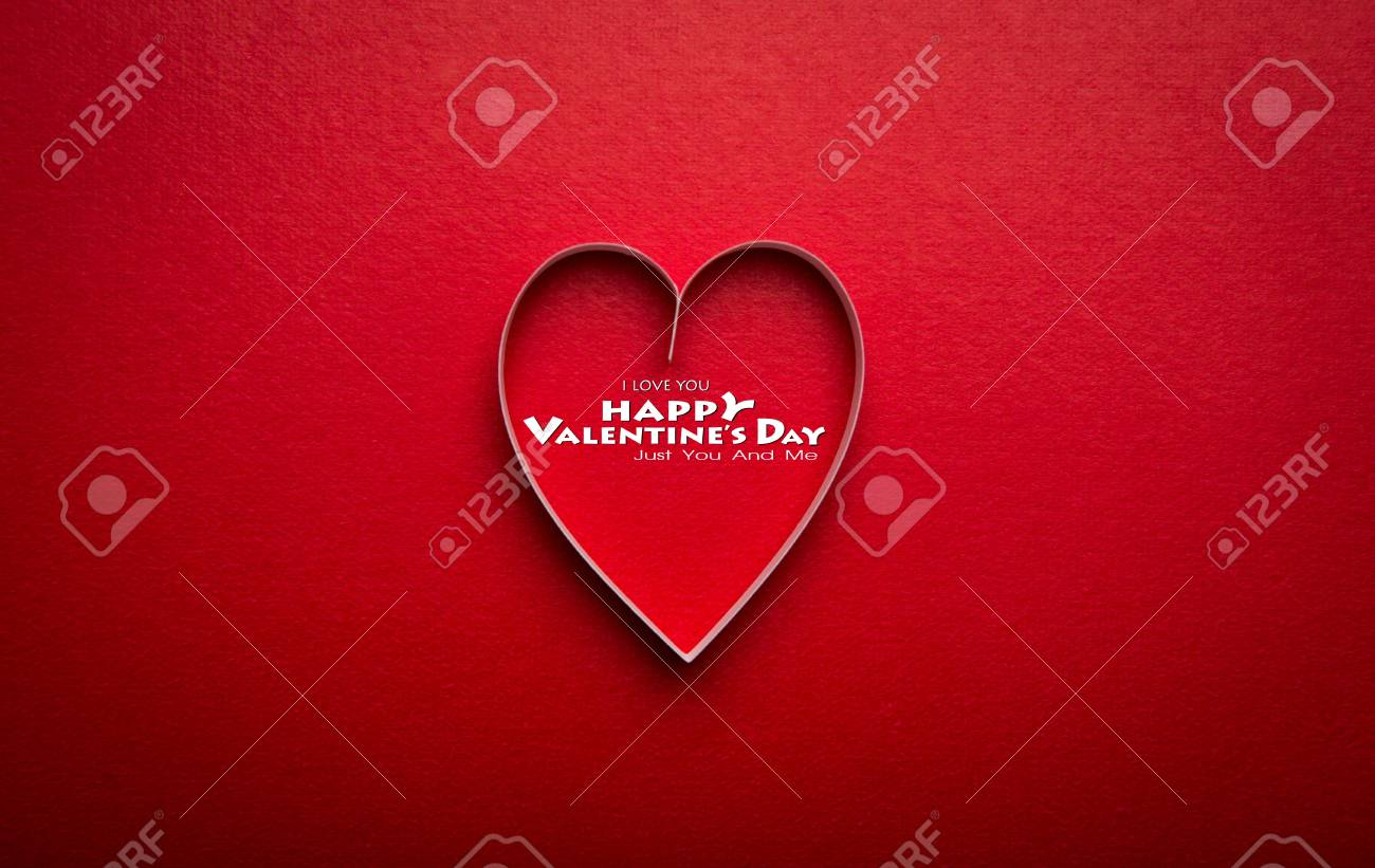 Paper Heart Shape Symbol For Valentines Day With Copy Space Stock