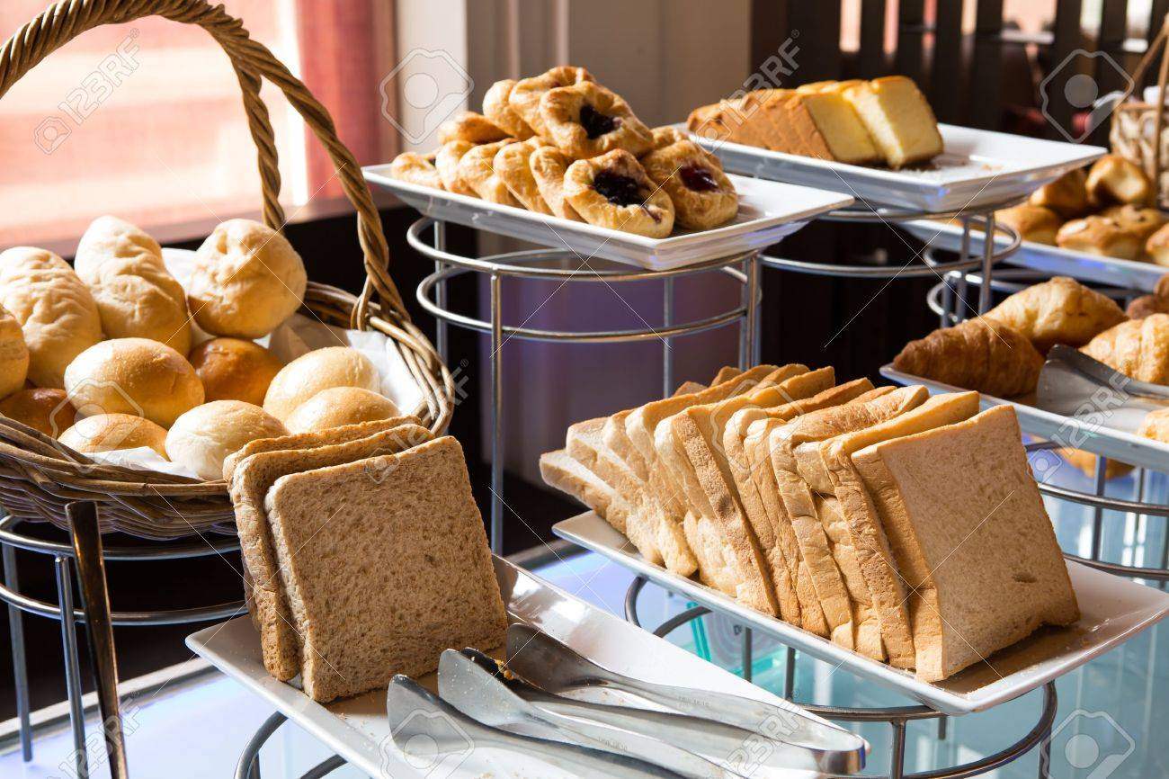 Assortment Of Fresh Pastry On Table In Buffet Stock Photo   17989235