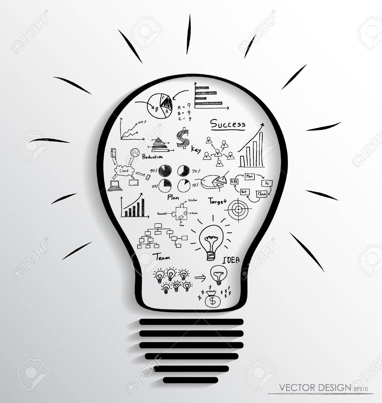 Light bulb with elements of infographics and graph. Vector illustration. - 19481766