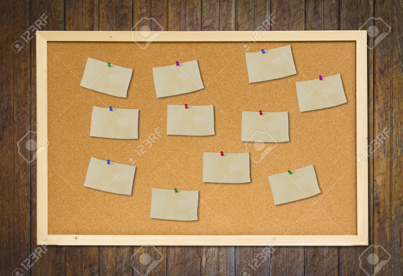 Cork Bulletin Board Cork Bulletin Board With Old Paper Note On Wood Wall Stock Photo