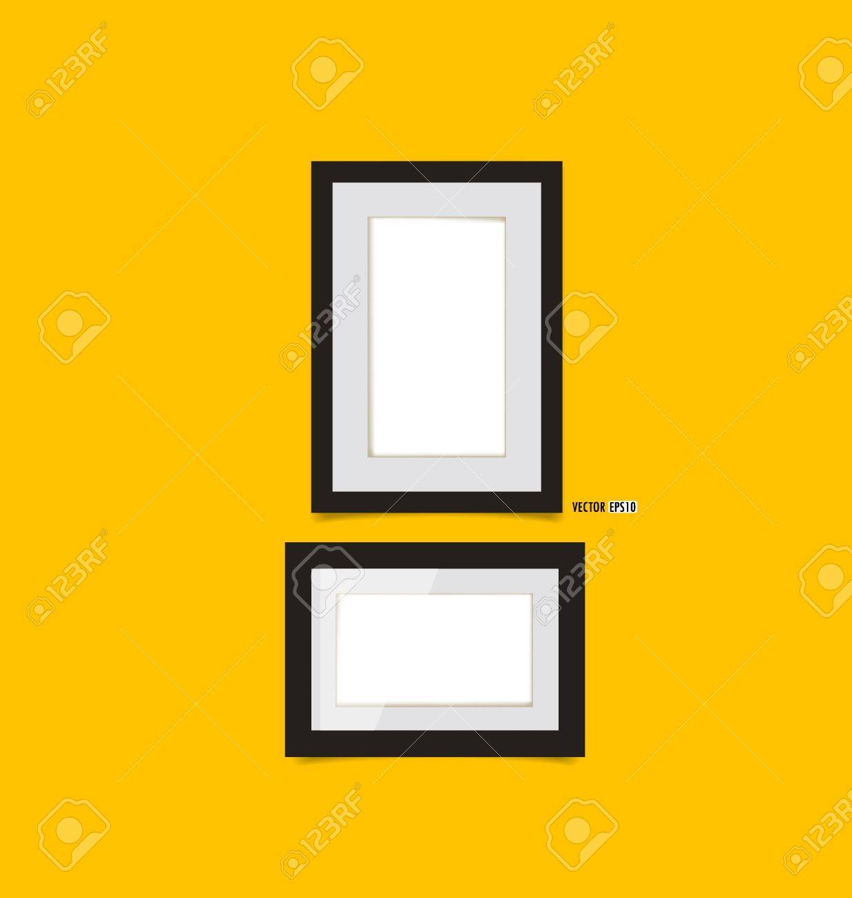 Picture frames on yellow wall. Vector EPS10 Stock Vector - 21395516