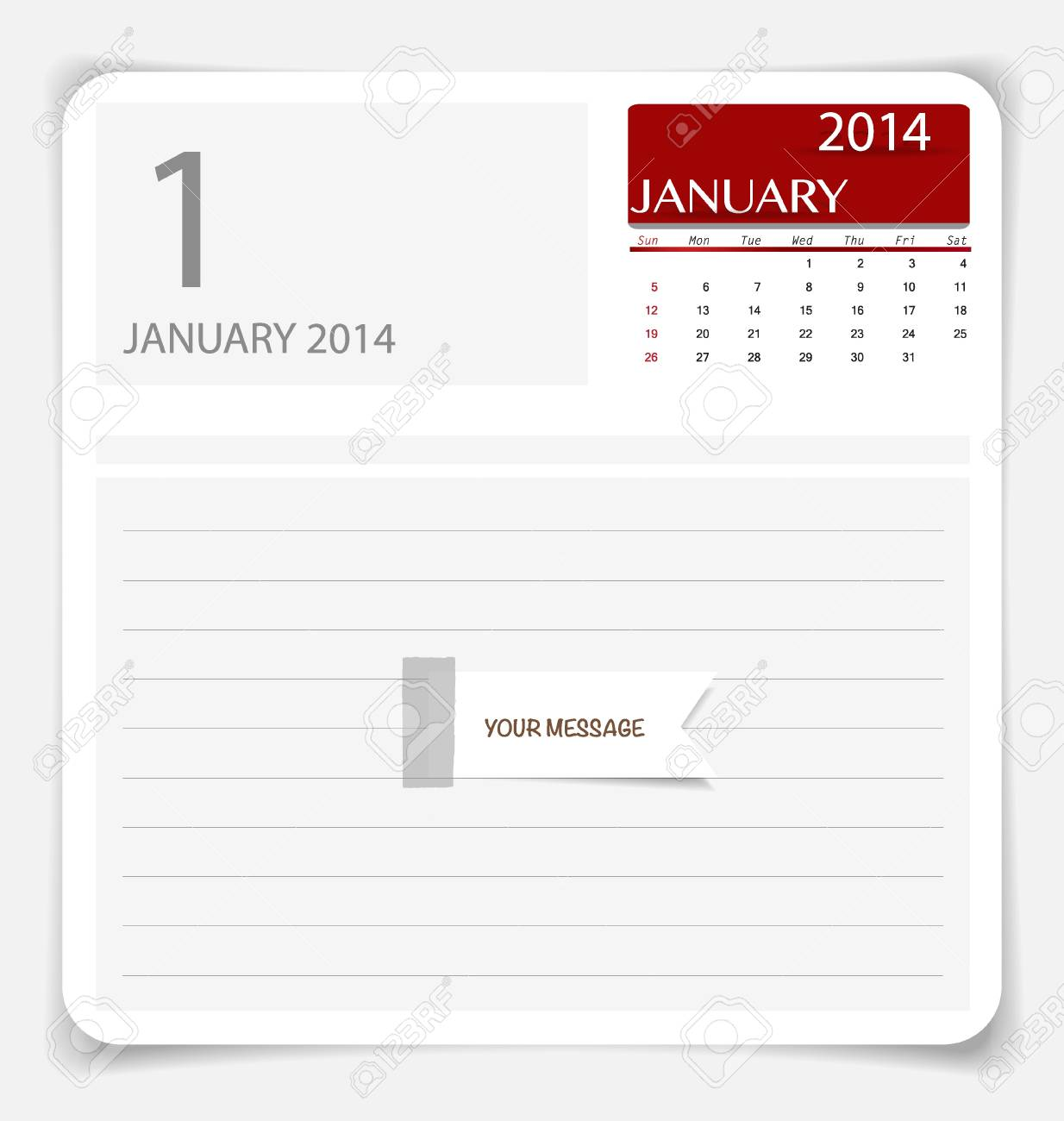 Simple 2014 calendar, January. illustration. Stock Vector - 21693624