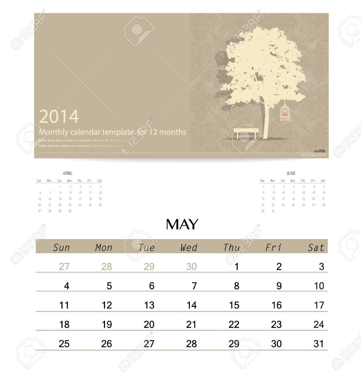 2014 Calendar Monthly Calendar Template For May Vector