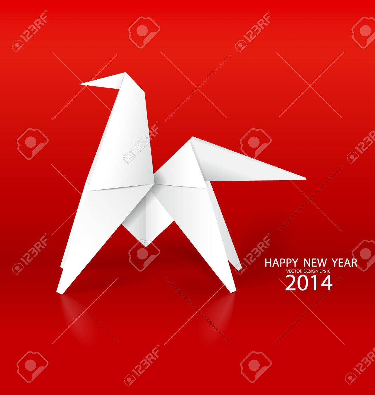 2014 happy new year greeting card origami paper horse design 2014 happy new year greeting card origami paper horse design vector illustration stock m4hsunfo