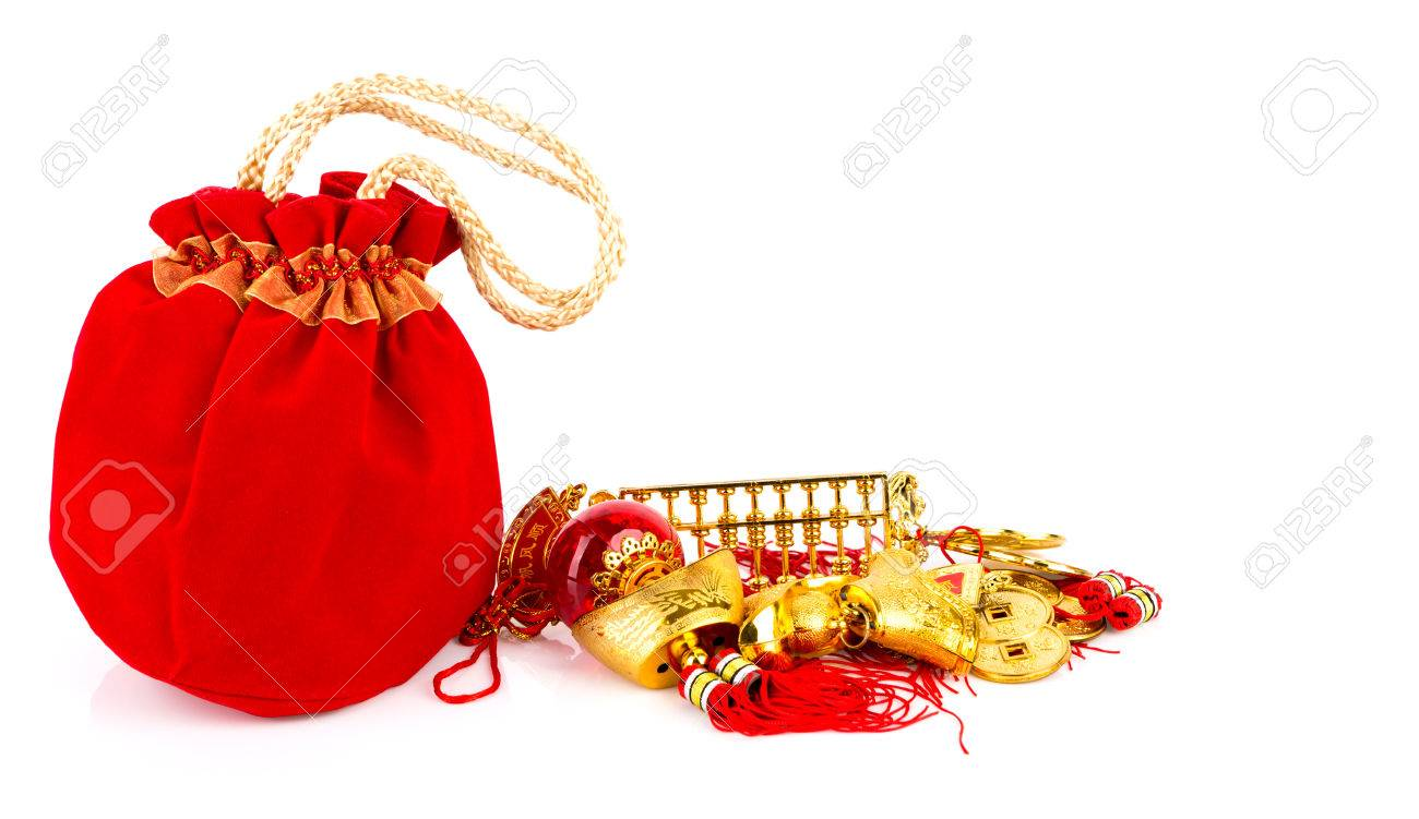 chinese new year gift bag and decoration on white background stock photo 25549987 - Gifts For Chinese New Year