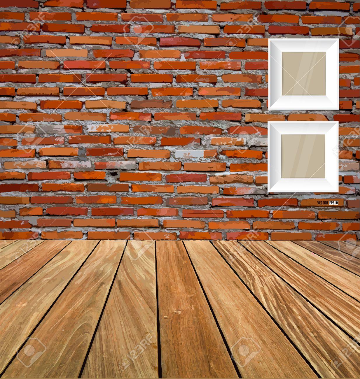 Chambre intérieur vintage avec mur de brique rouge et plancher de ...