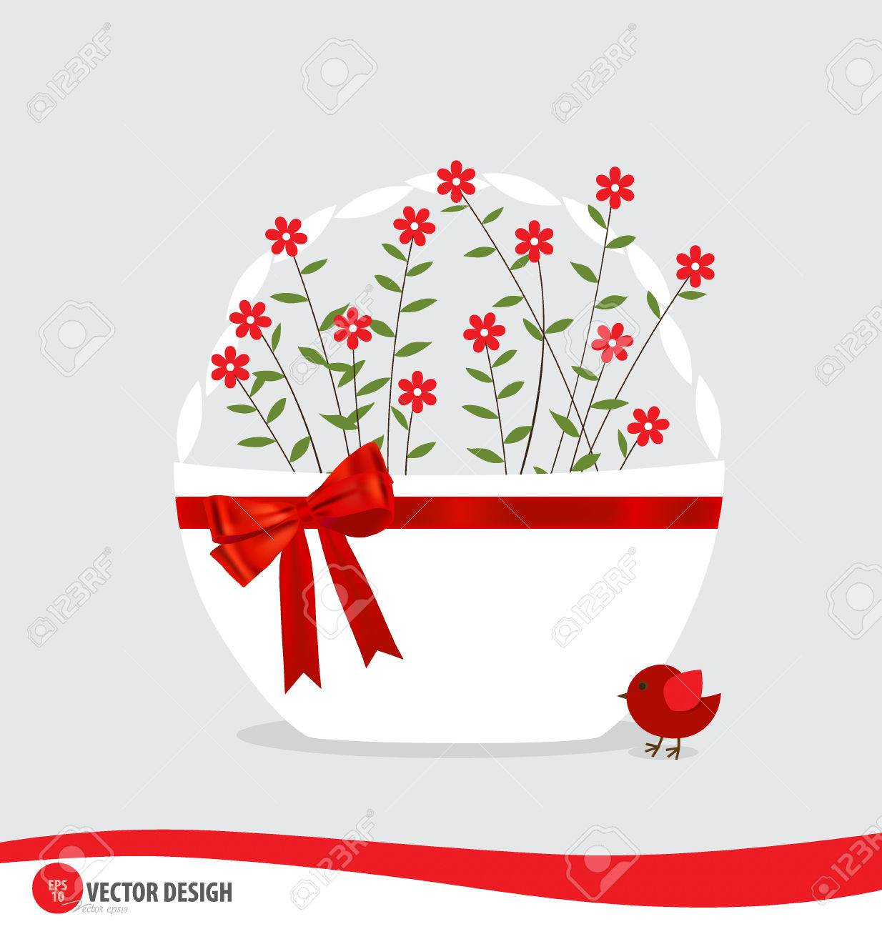 Basket with flowers. Stock Vector - 27043937