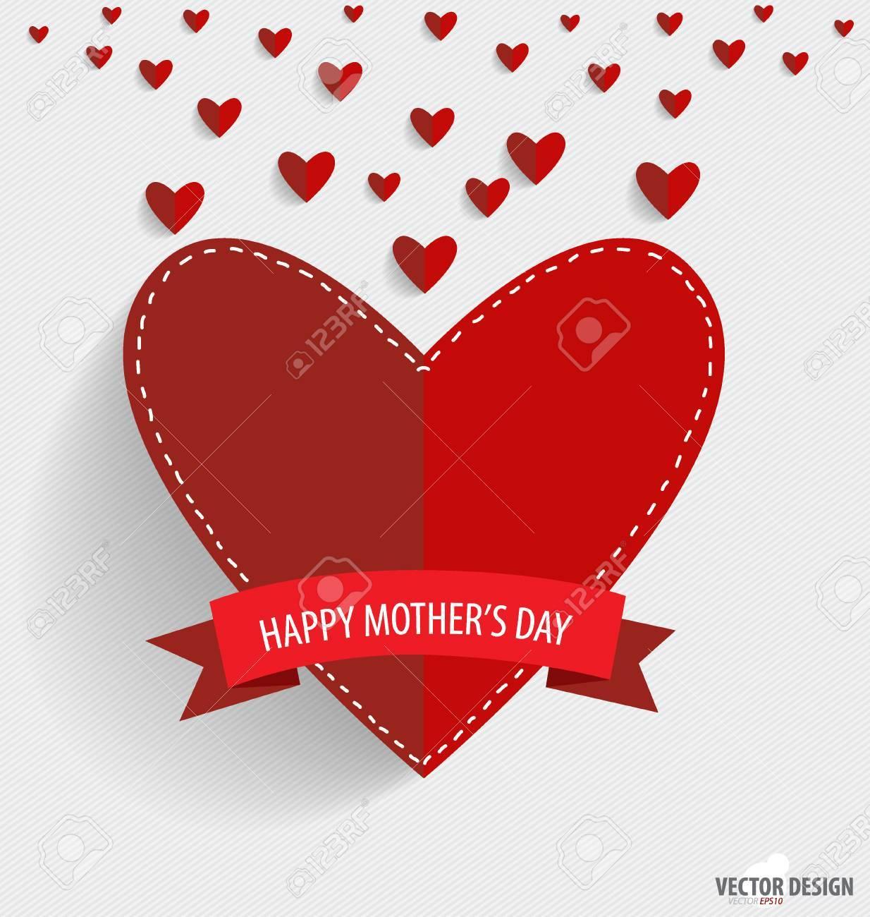 Feliz Día De Las Madres Corazones De Papel