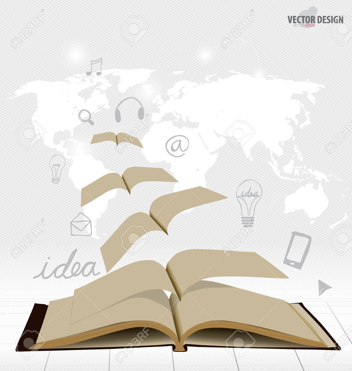 Opened flying books with application icon, modern template design. Vector illustration. Stock Vector - 28401501