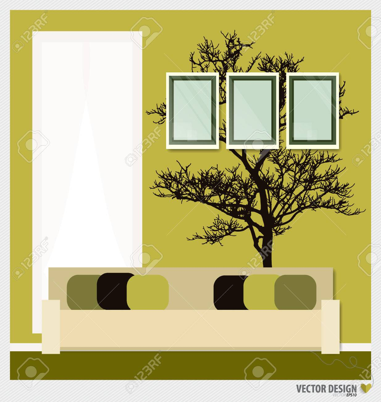 Three Empty Frames On A Wall And Decorative Wall Stickers For ...
