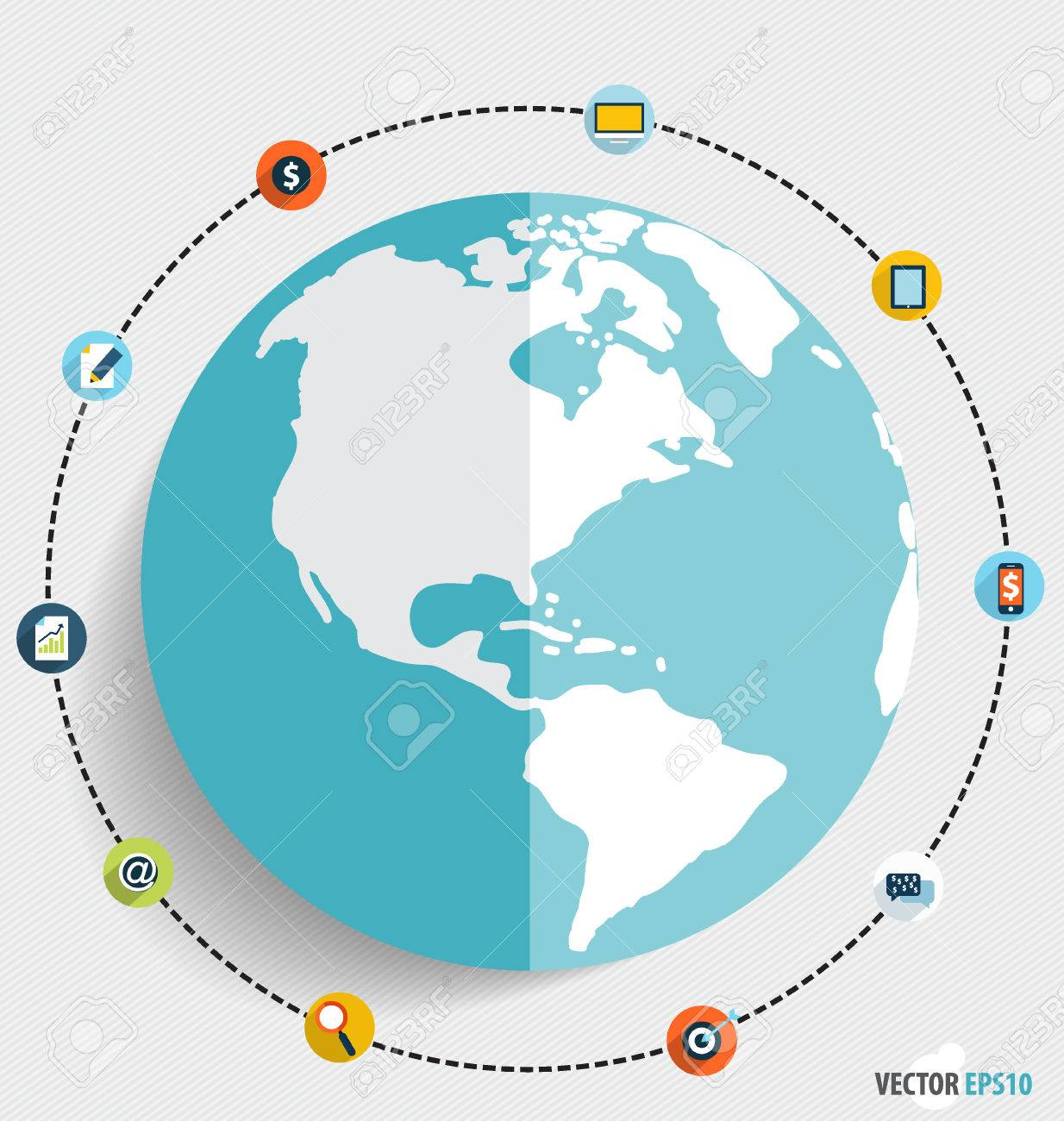 Modern globe with application icons business working elements modern globe with application icons business working elements for web design seo optimizations gumiabroncs Gallery