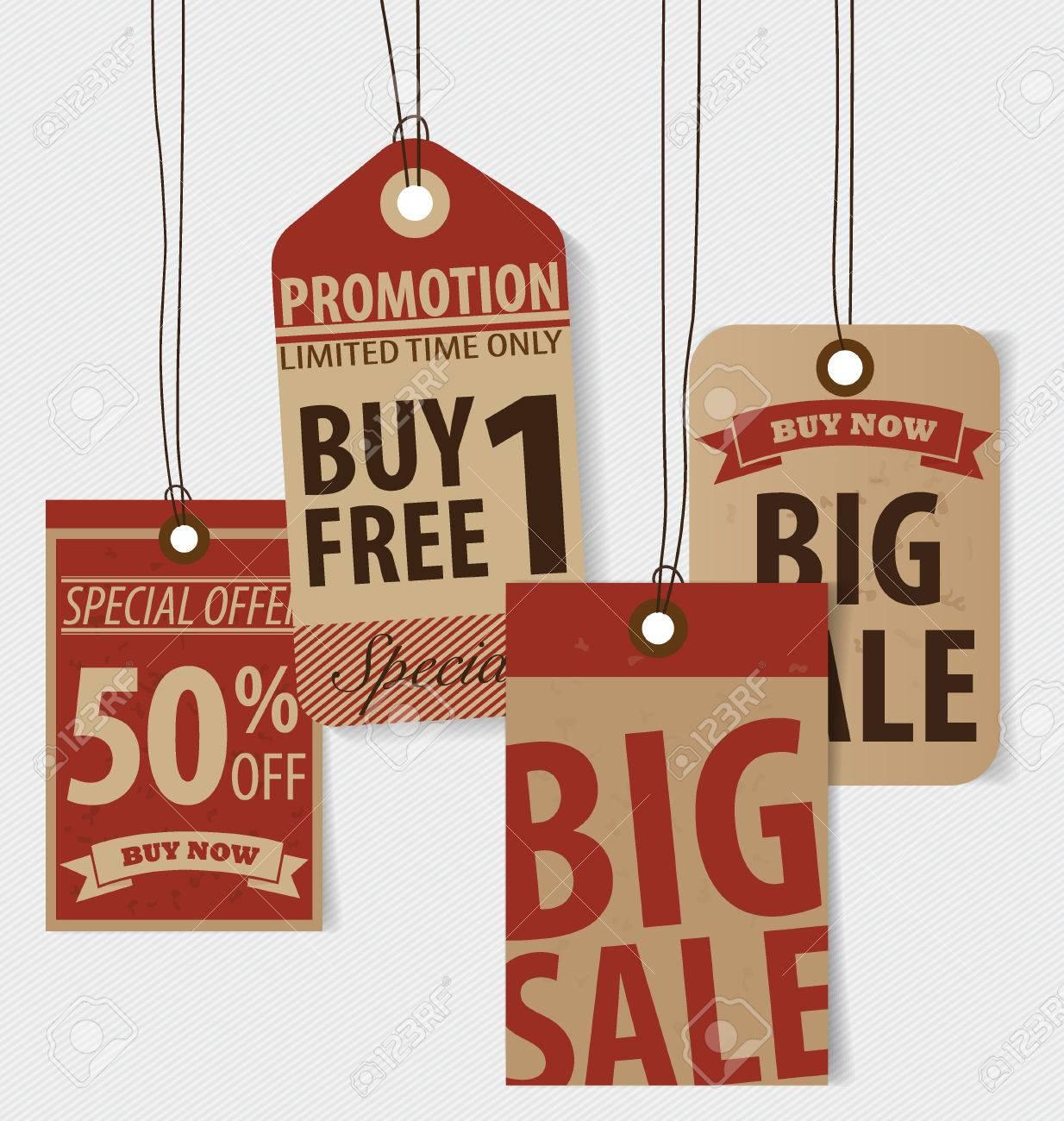 price tag sale coupon voucher vintage style template design