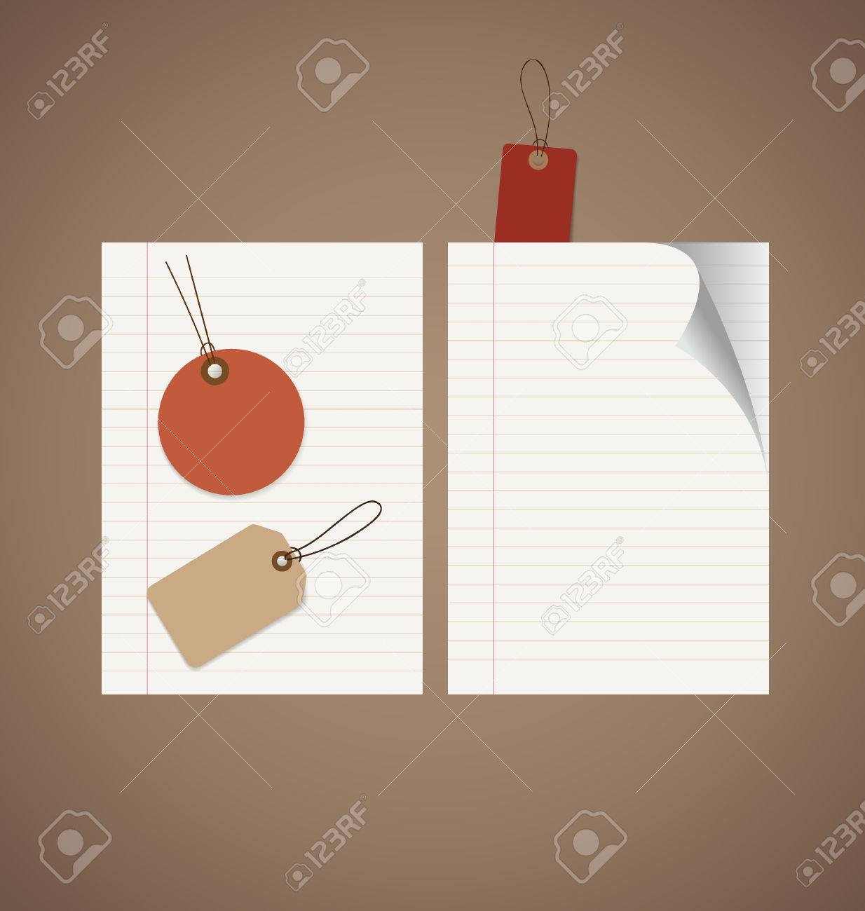Note Papers, Tag. Vintage Style Template Design Vector Illustration ...
