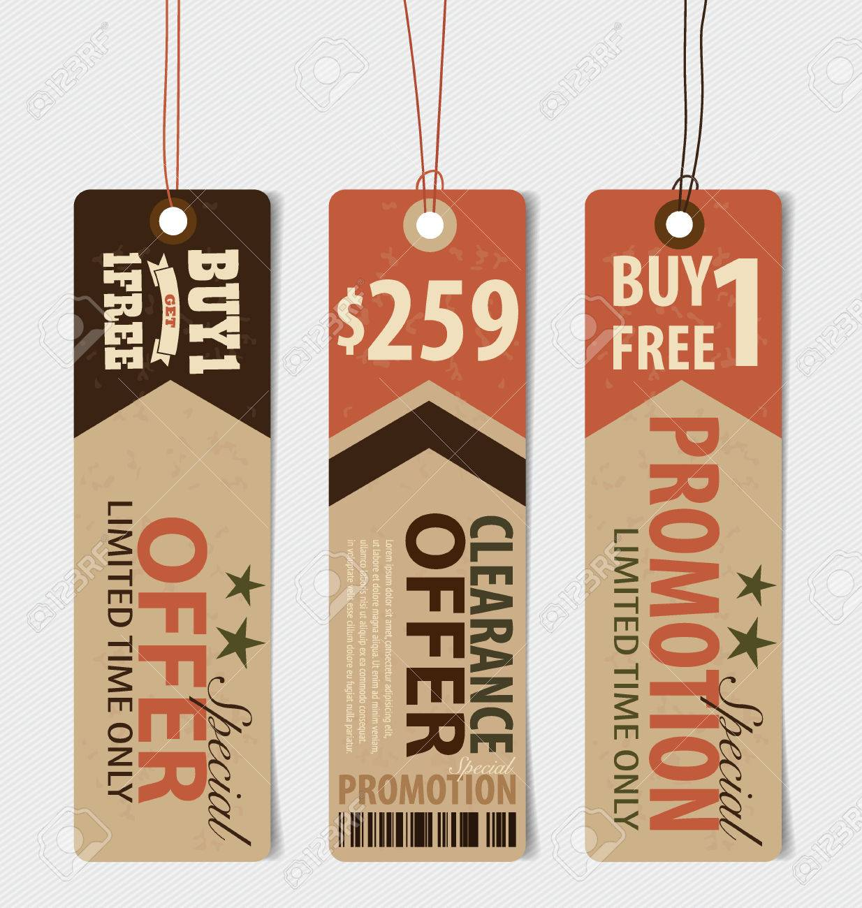 Price Tag Sale Coupon Voucher Vintage Style Template Design – Sale Tag Template