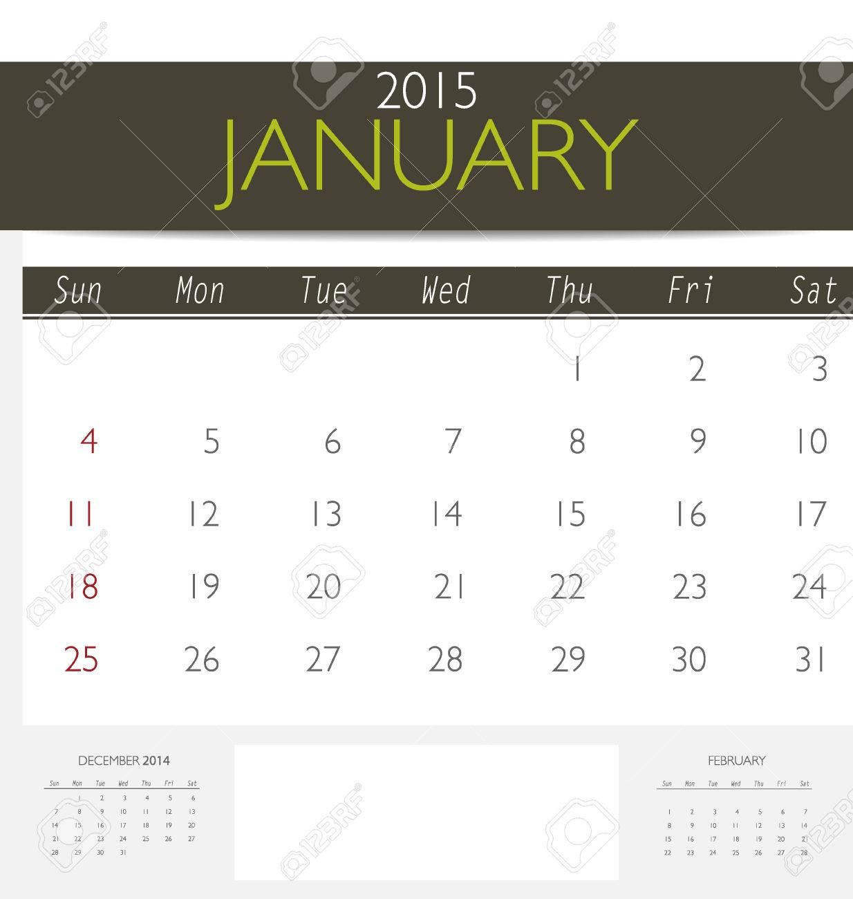 2015 Calendar Monthly Calendar Template For January Vector
