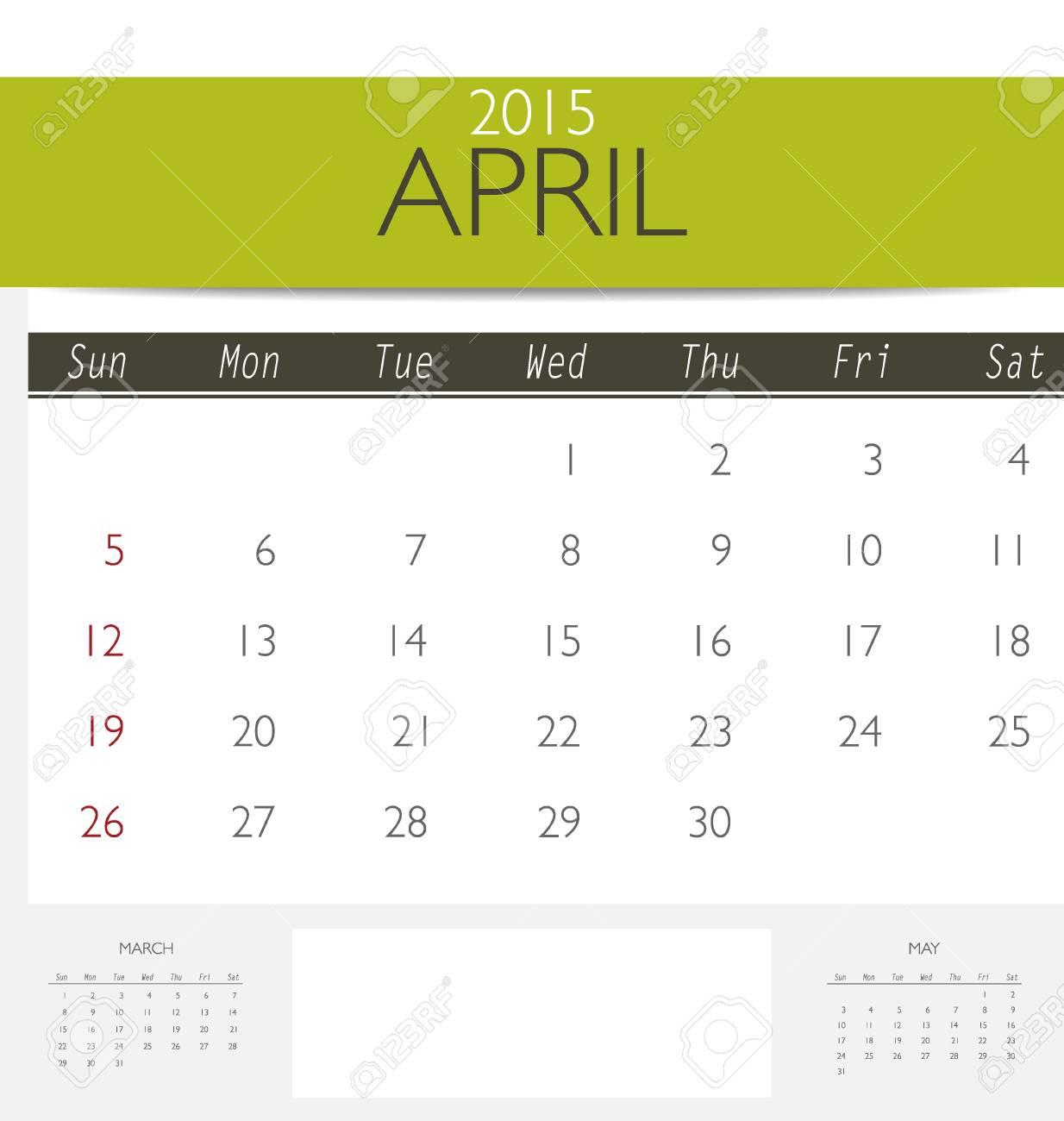 2015 Calendar Monthly Calendar Template For April Vector