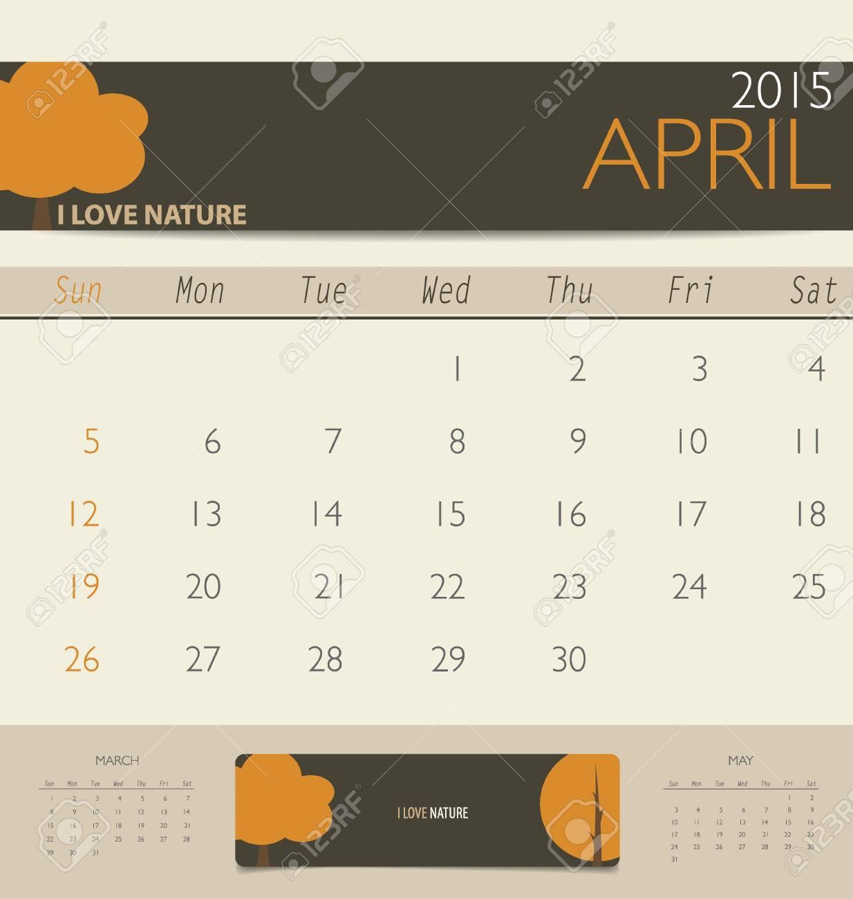 2015 Kalender, Monatskalender Vorlage Für April. Vektor-Illustration ...