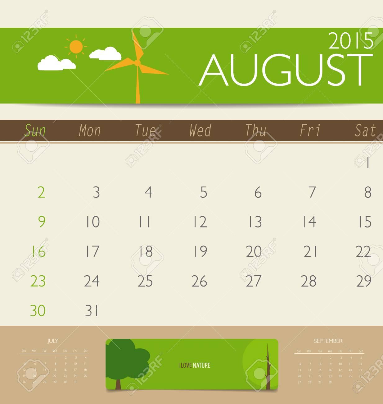 2015 Calendario, Plantilla Calendario Mensual Para Agosto ...