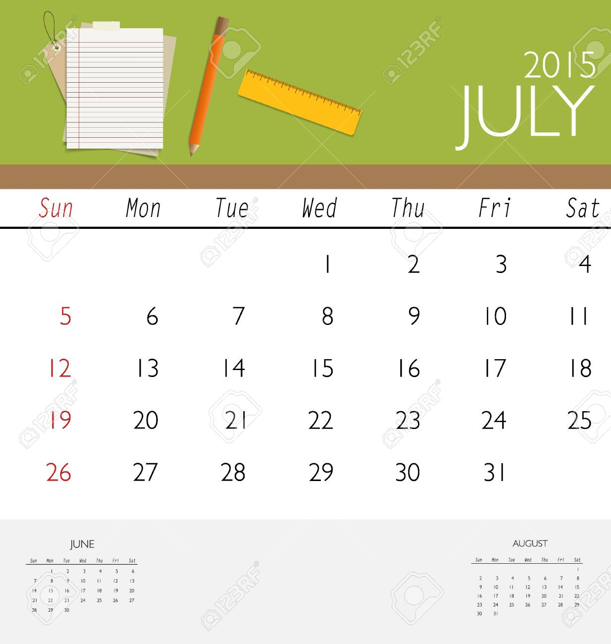 2015 Calendar, Monthly Calendar Template For July. Vector ...