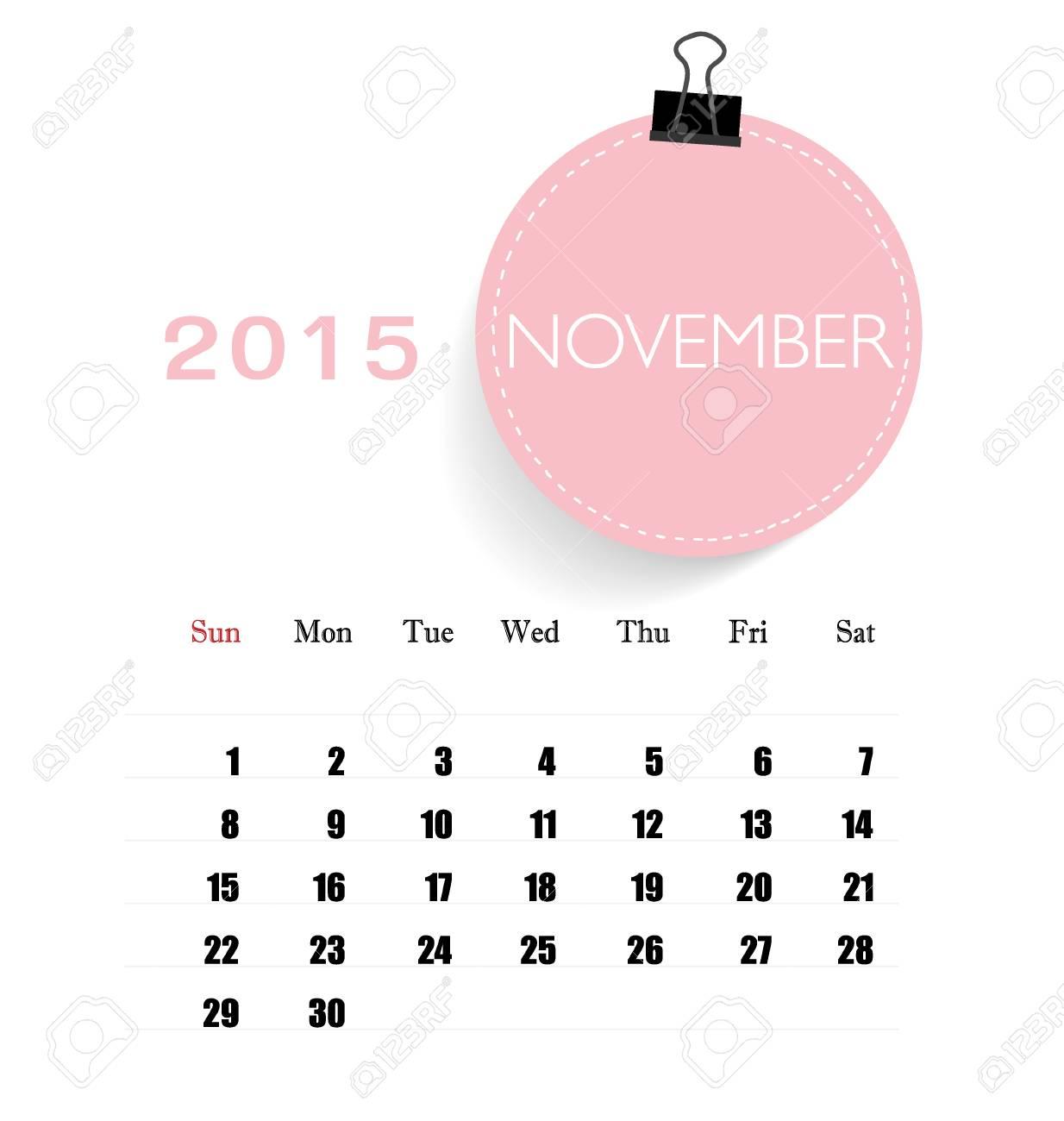 November Calendar Template 2015 from previews.123rf.com