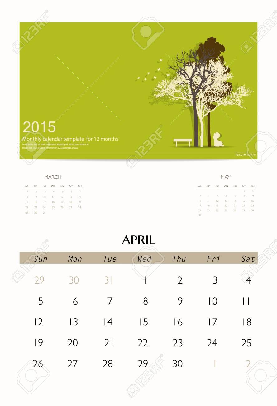 2015 calendar monthly calendar template for april vector illustration stock vector 34259500