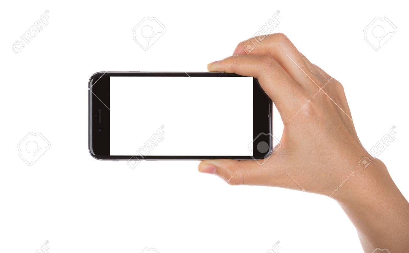 Hand holding mobile smart phone with blank screen Isolated on white background - 34328858