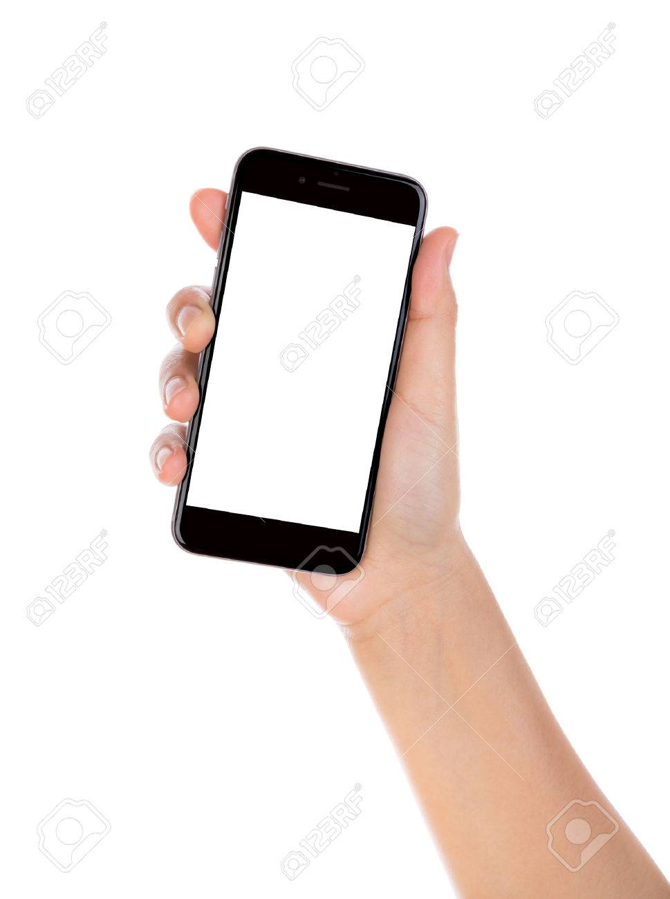 Hand holding mobile smart phone with blank screen Isolated on white background - 35669531