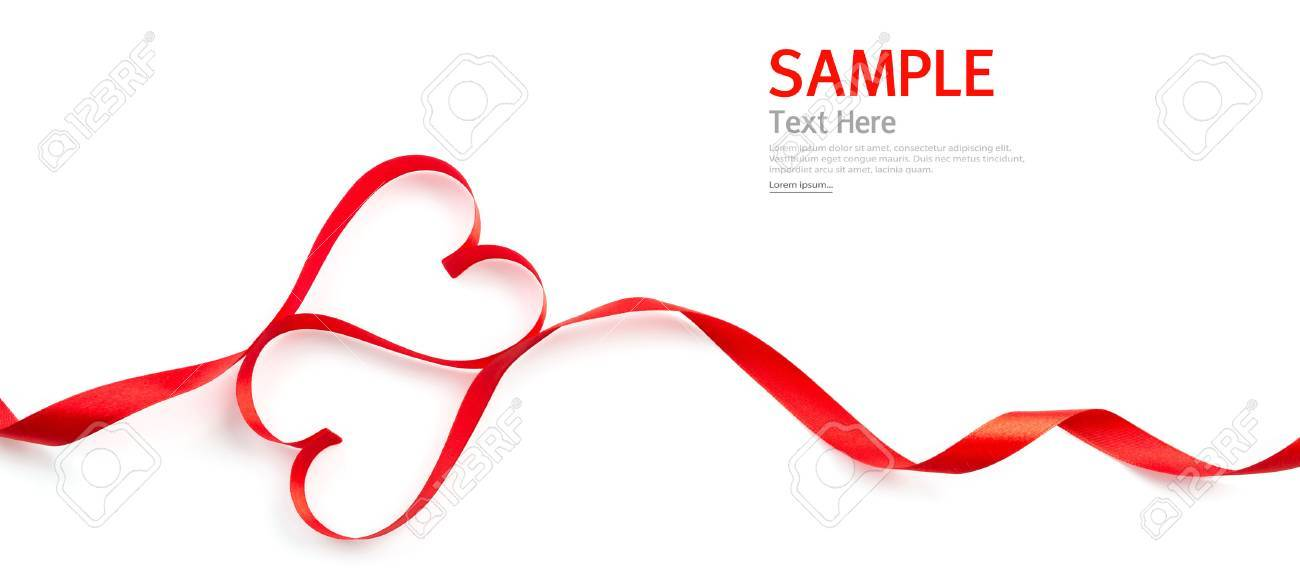 Red heart ribbon isolated on white background - 35670152