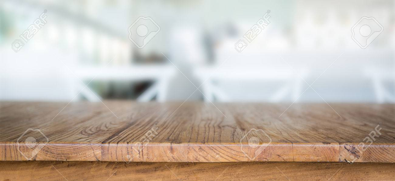 Wood table at restaurant - 35770757