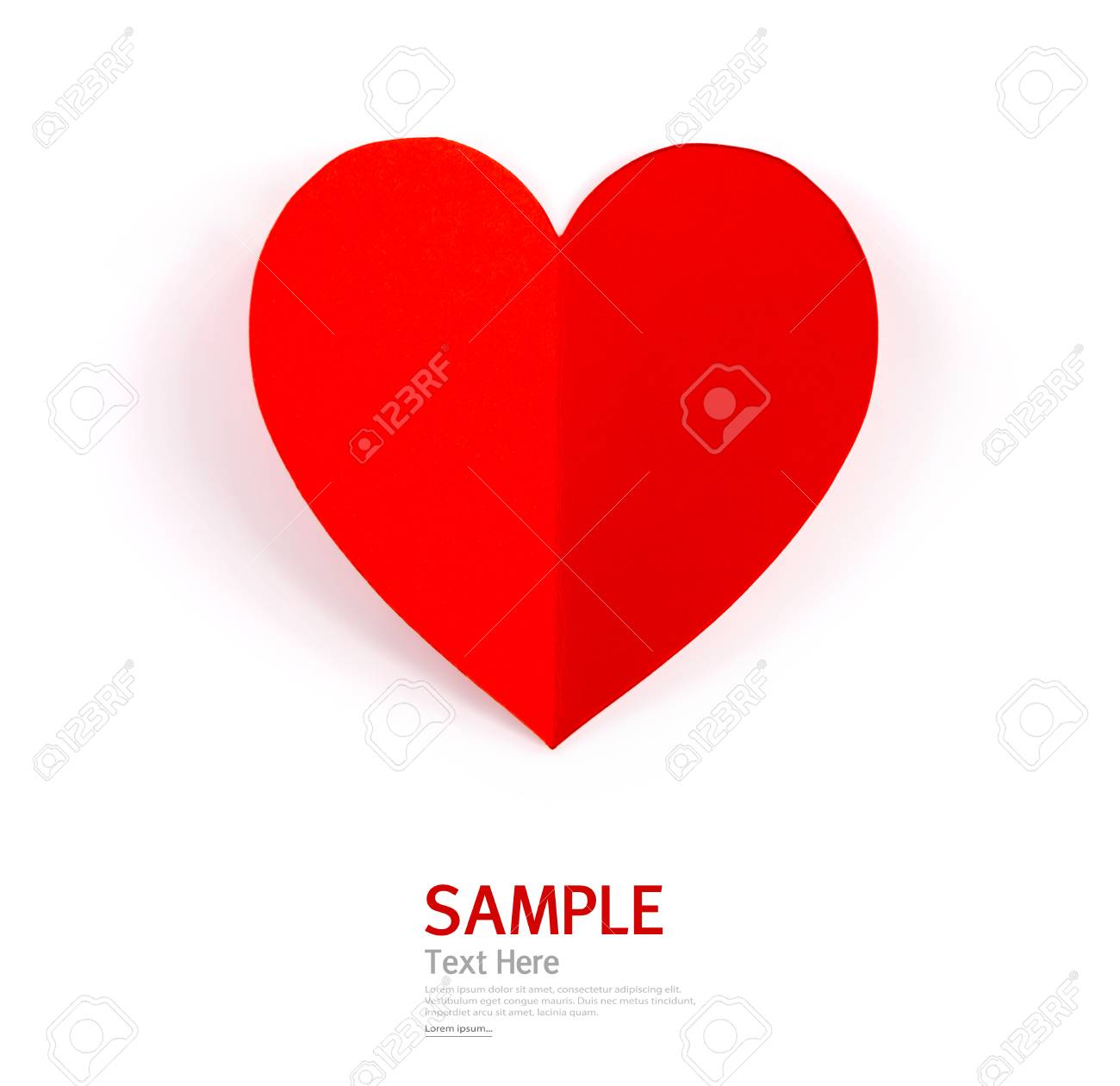 Paper Heart Shape Symbol For Valentines Day With Copy Space For