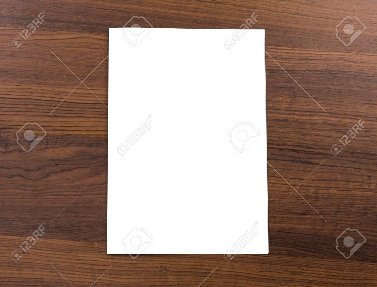 Blank catalog,brochure, mock up on wood background - 36193234