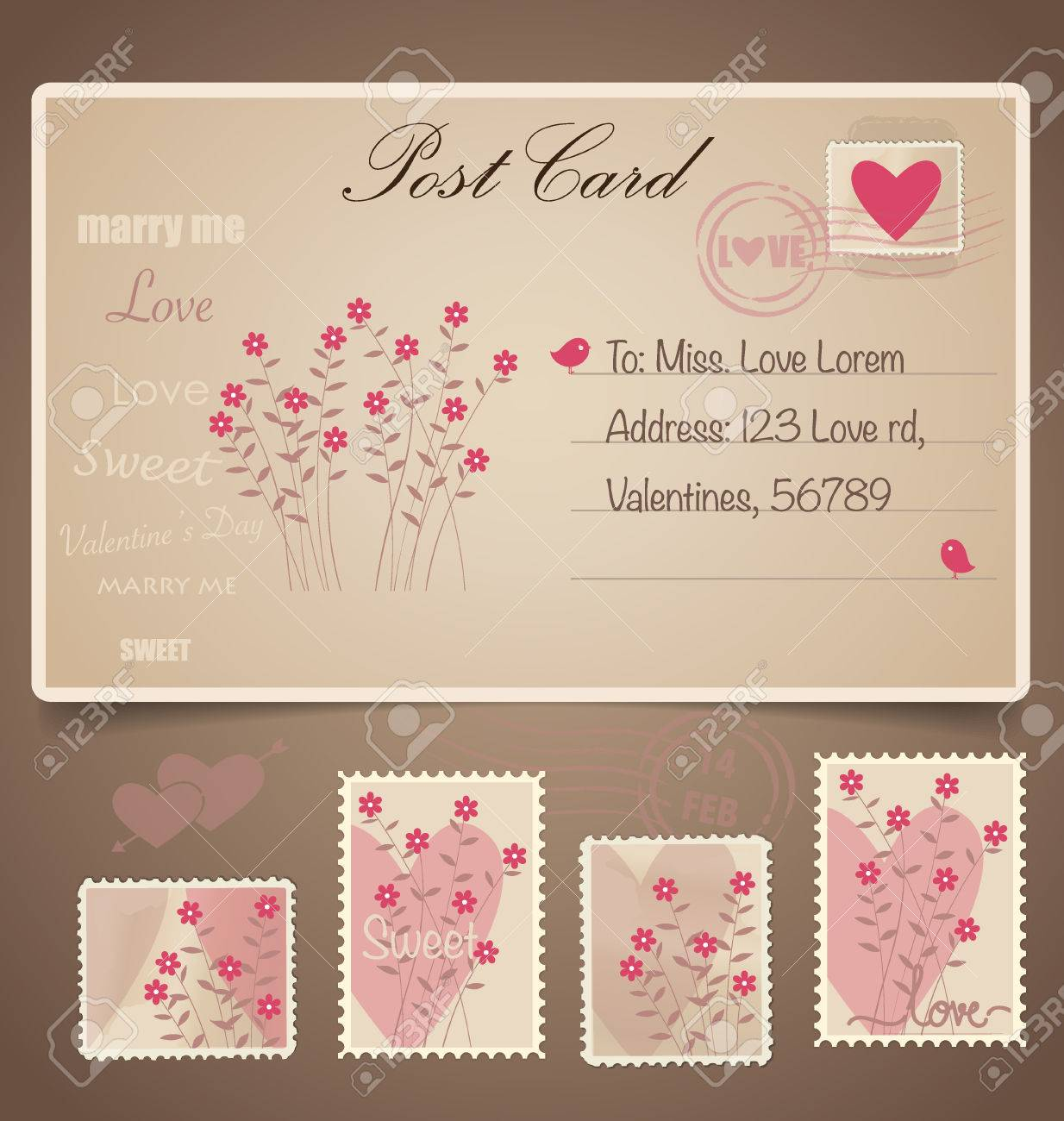 Vintage Postcard Background And Postage Stamps For Wedding
