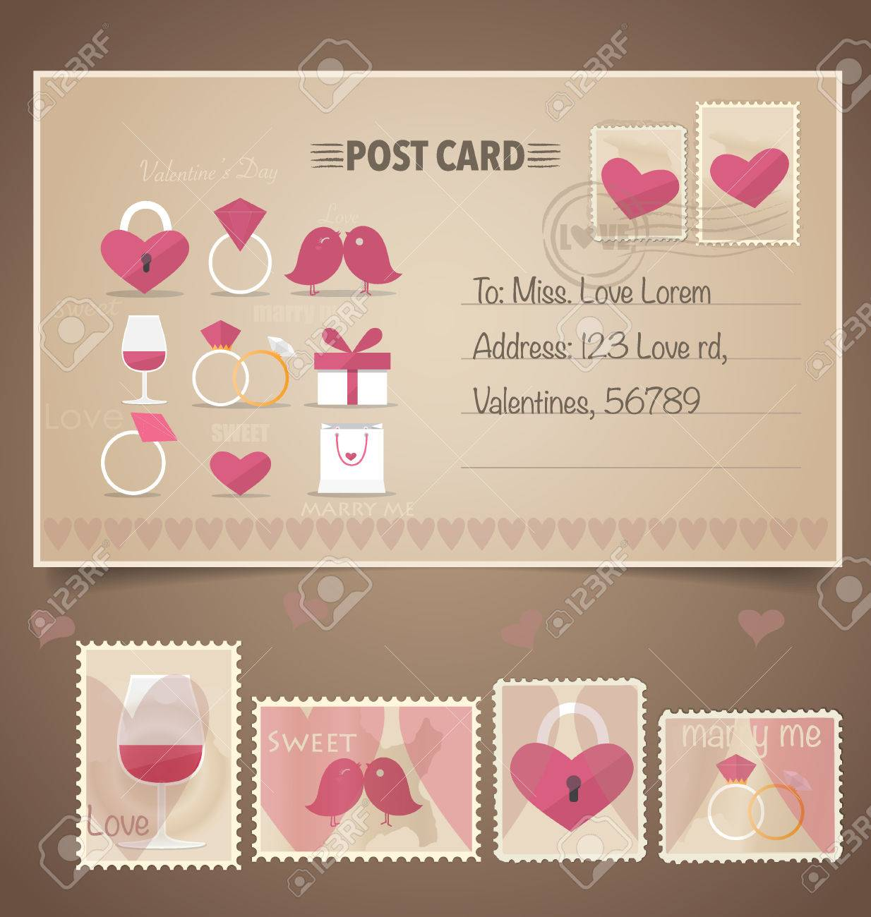 Vintage postcard background and postage stamps for wedding vintage postcard background and postage stamps for wedding card design invitation card design monicamarmolfo Gallery